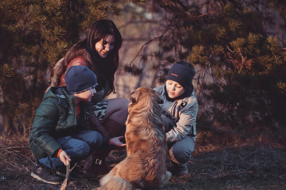 Family with dog in the woods