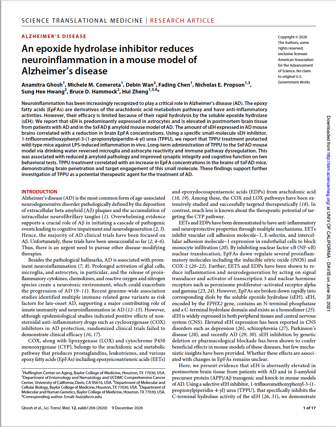 First page of scientific paper on sEH inhibitors in mouse model of Alzheimer disease